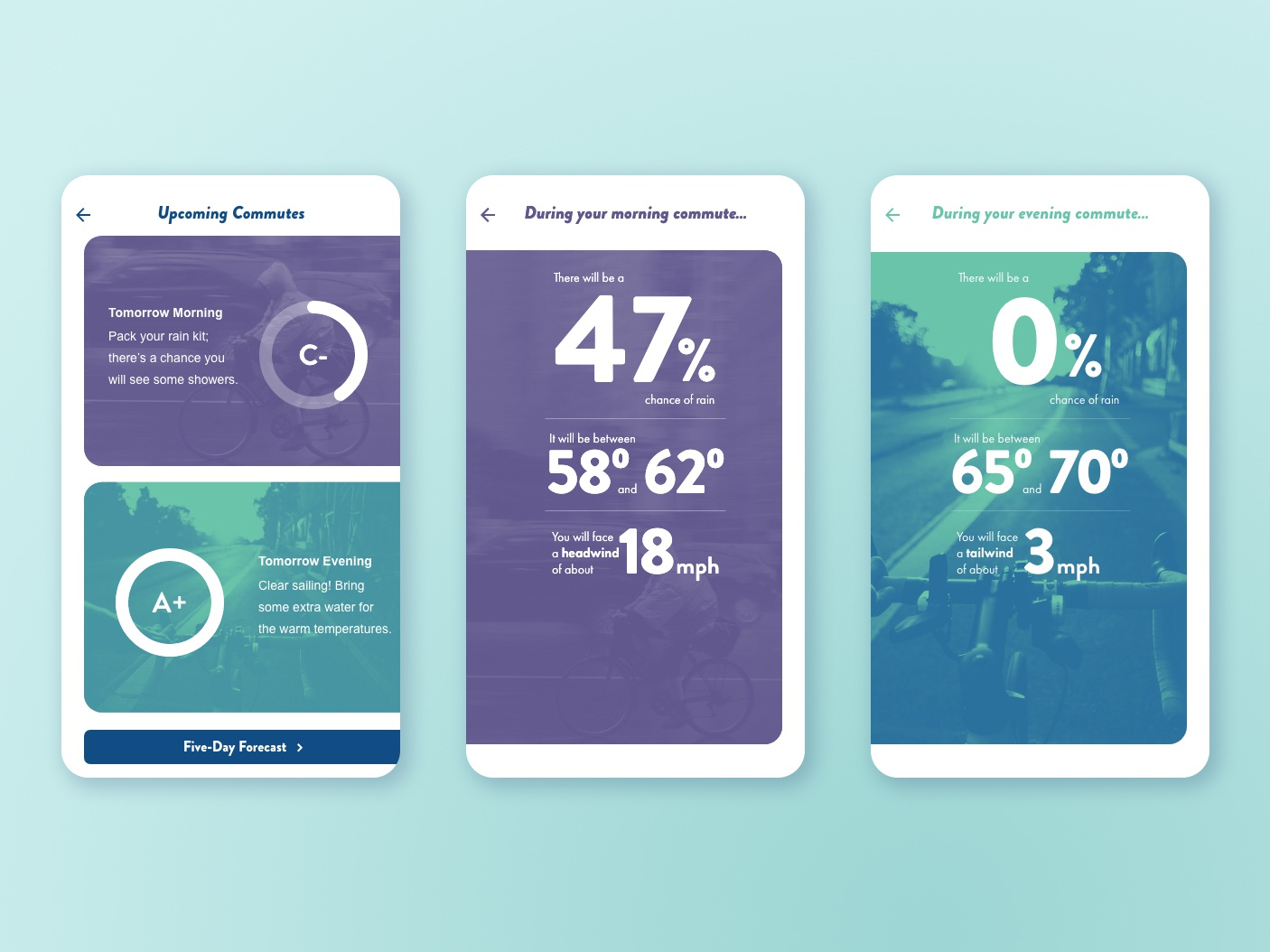 Weather App for Bike Commuters white space bold gradient map gradient typography mobile ios adobexd xd commuter commute bicycle bike weather app design ui
