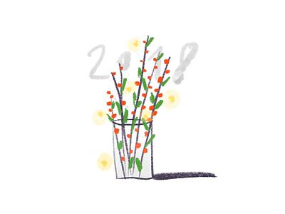 Happy 2018 ipad procreate brush lights plant vase nye 2018 xmas