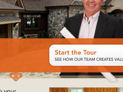 Start the Tour orange ornaments button feature house architect