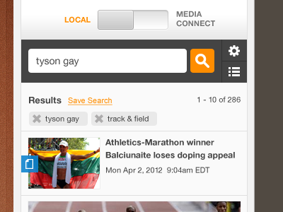 Content Builder olympics content edit search orange tags icons pictos results interface