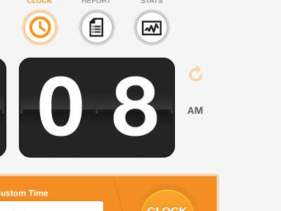 Time Tracking UI clock flipclock orange black time icons