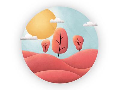 Sun and Mountains grain illustrator photoshop illustration design
