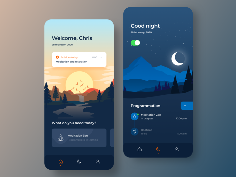 Mindfulness App Concept vector ios illustration home app minimalist interaction ui app design ux design ui design