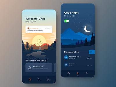 Mindfulness App Concept vector ios illustration home app minimalist interaction ui app design ux design ui design