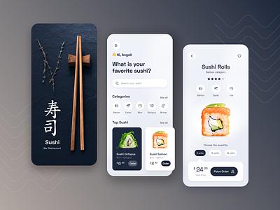 Sushi Restaurant - eCommerce App home app fast food food app food product app sushi app sushi ecommerce app ux minimalist ios app design ios app ui design ui ux design