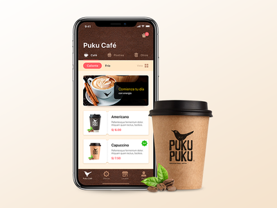 Puku Cafe Design iOS iphone x ux design ui design coffee design
