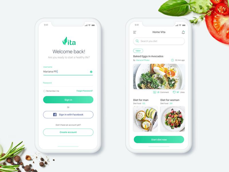 Vita App UI Design - Daily UI Challenge #3 minialista ux ios app design login ux design ui design web design