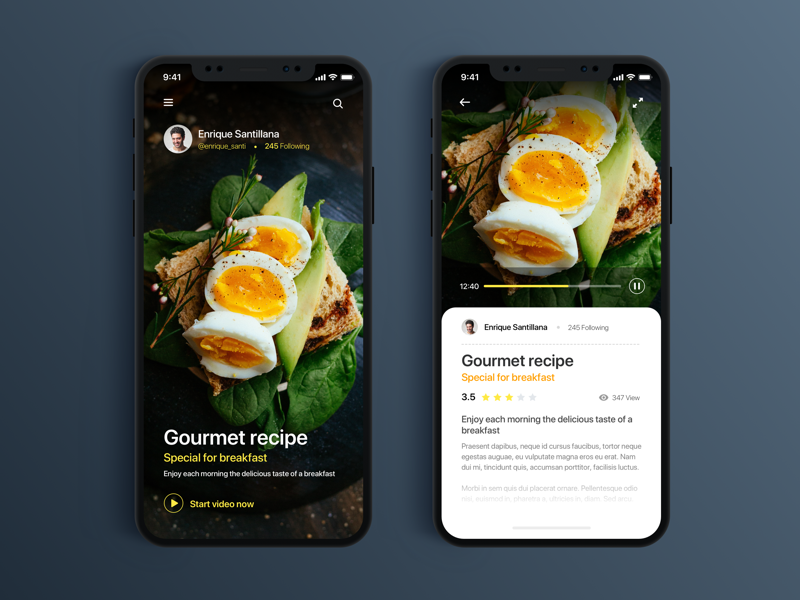 App Food Gourment Repice - Daily UI Challenge #10 home app video ui minimalist ux ios app design food ux design ui design web design