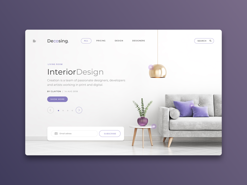 Decosing Web Interior Design user interface interaction landing page slider ux web ui web web landing interior design web design