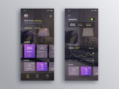 Smart Home - Daily UI Challenge #12 home app interaction design smart home smart creative ux design ui minialista ios app design ux ui design
