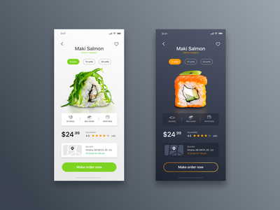 Sushi Food App - Daily UI Challenge #13 design minimalist ui ux app design ui design delivery app sushi sushiapp food food app