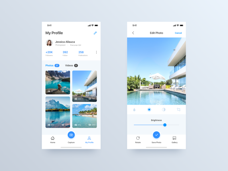 Photo Editor App - Daily UI Challenge #18 photo editor edit profile edit typography iphone x user interface inspiration ui  ux design ui  ux interaction home app design detail minimalist ui ios app design ux design ui design ux