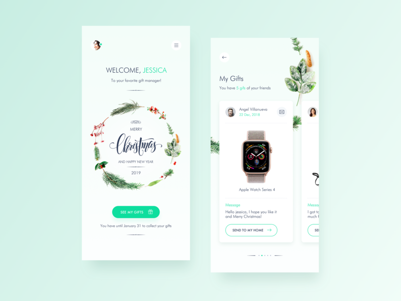 Gift Manager App home app interaction ux ui  ux app design app concept christmas inspiration minimalist ios ui ui design