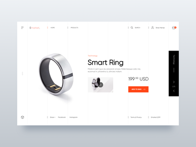 Smart Ring - Web UI Design home design user interface ecommerce design landing page web design minialista ecommerce interaction detail ui  ux design ui  ux inspiration design ui minimalist ux design ux ui design