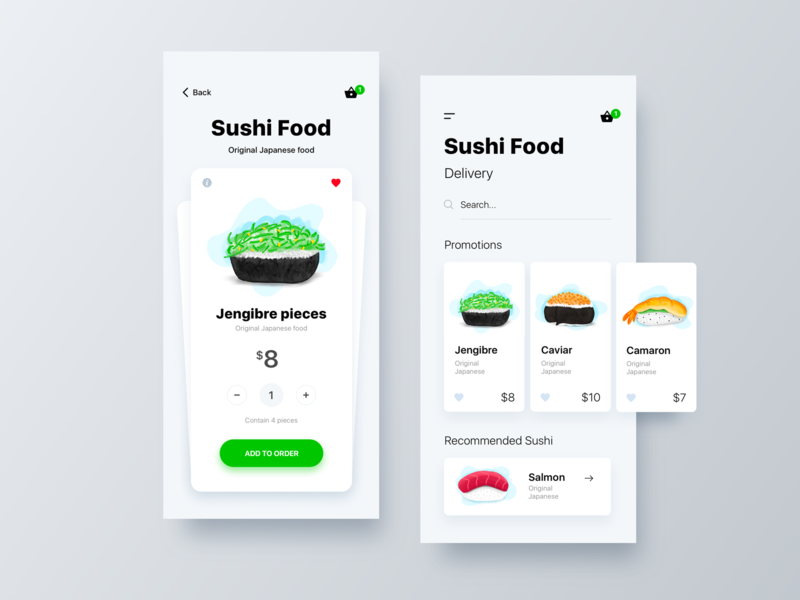 Sushi Food App ecommerce design user interface home app ios ui design ui  ux design interaction ui vector illustration minimalist minialista ui  ux inspiration app design ux design ux food app food sushi