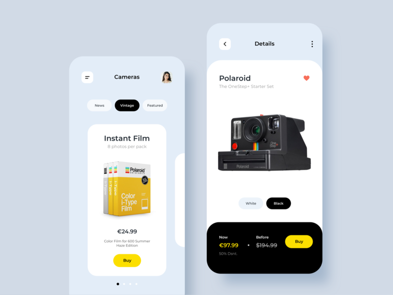 eCommerce App Camera shop design shop app ux design ecommerce business ecommerce app ecommerce design ecommerce home app user interface interaction minimalist inspiration ui  ux design app design ios ui ui design ux