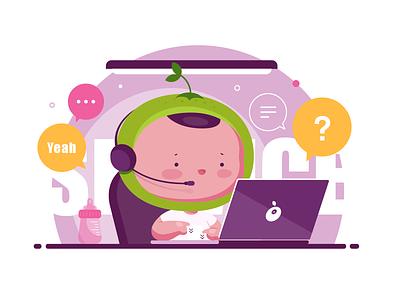 BabyOrange call help boy baby illustration