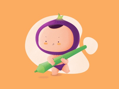 BabyOnions onions vegetables illustrations colors boy baby illustration