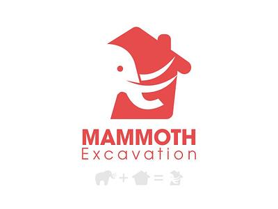 Mammoth Excavation logo home excavation branding vector illustration flat design elephant logo