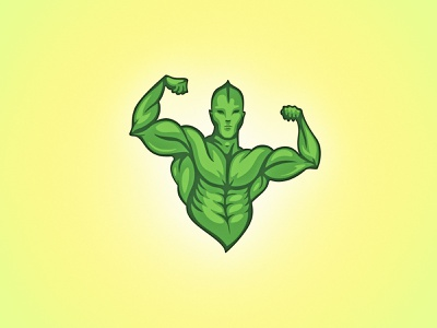 VEGAN GAINS kliment design logo symbol logo mark logo design vegetarian vegan bio eco natural power strongman strong nature leaf green