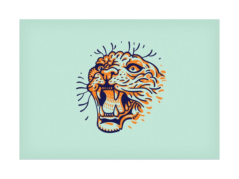 ROAR! angry logo style tattoo art panther tattoo puma roar