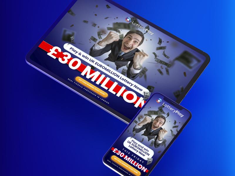 Mobile Landing Page - Lottery Play uk euromillions bingo win bet lottery website www tablet web dev mobile app mobile