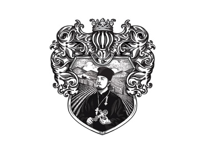 ОТЕЦ ПАВЕЛ - Priest Pavel - Wine Label Design - Crest WIP photoshop vector portrait label packaging red wine червено вино българия bulgaria russia русия норилск norilsk wip crest label design label етикет вино wine отец павел