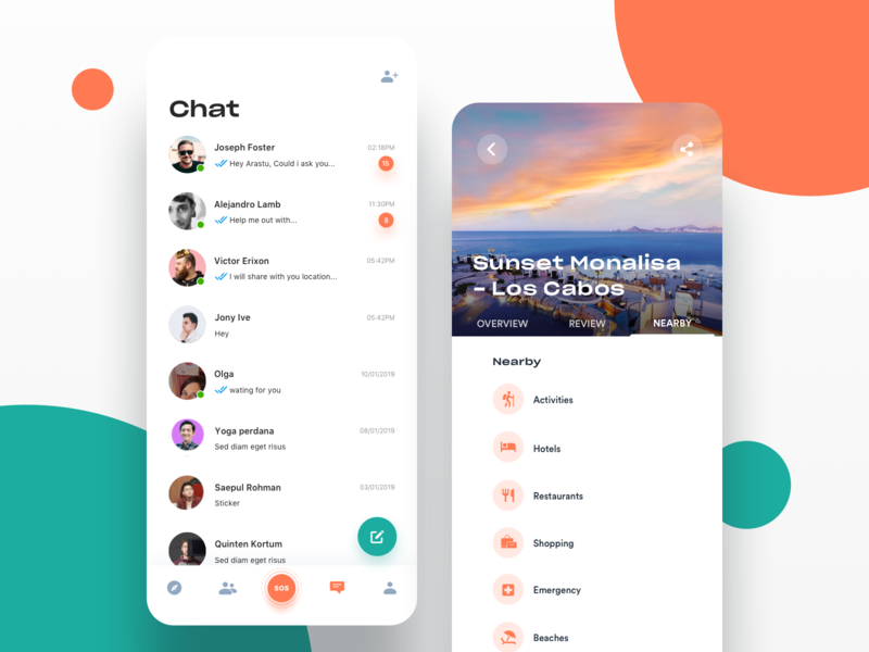 Nearby And Chat message colors interaction animation hotel visual uiux designer chat trip travel icons card ios flat experience design user interface android ios mobile app design illustration
