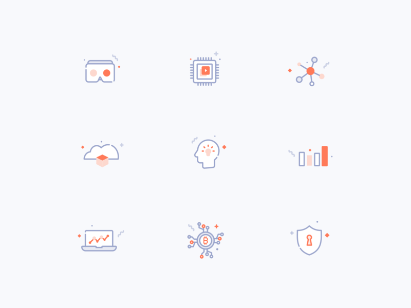 Icons for technology website bigdata ar vr bitcoin iot webdesign website web design vector flat icons illustration