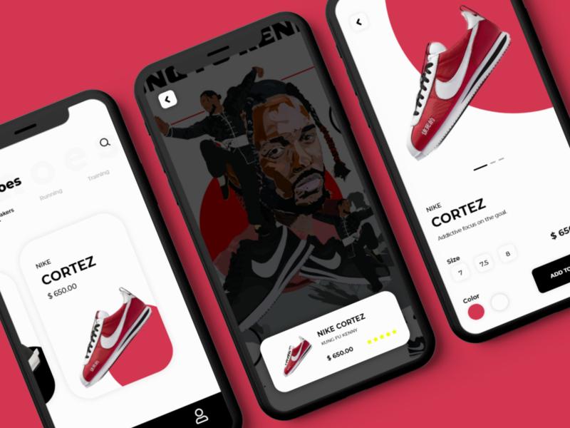 Shoe UI uidesign kendrick lamar cortez nike mobile app design mobile app mobile ui ui ux digital design dailyui uiux