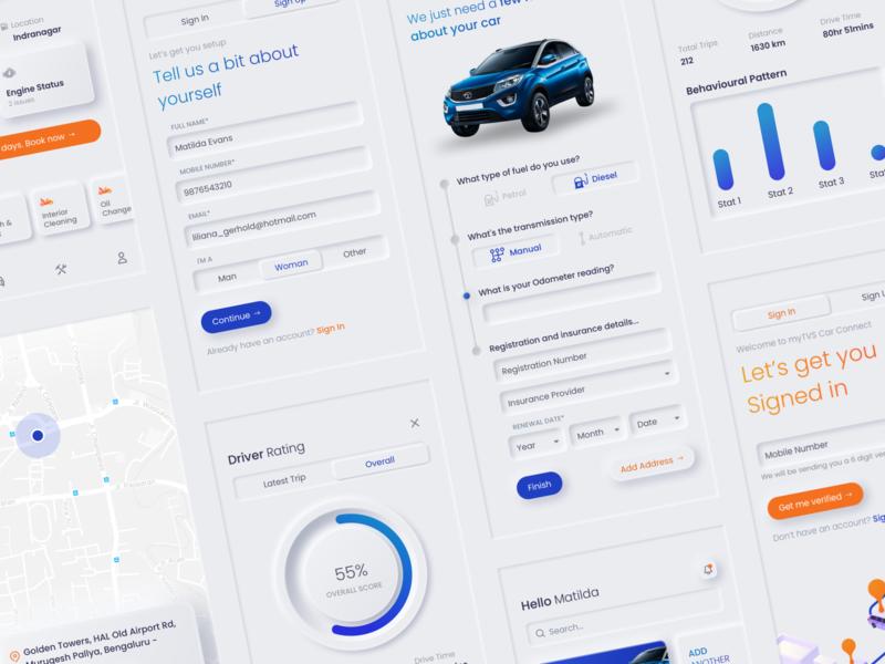 Car servicing app register login signup signin selector chart graph design cards mobile design white whitespace simple ui neumorphic neumorphism