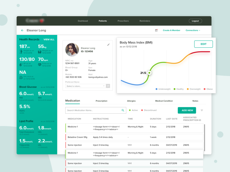 Pharmacy Dashboard medicine patient pharmacy dashboad uiux