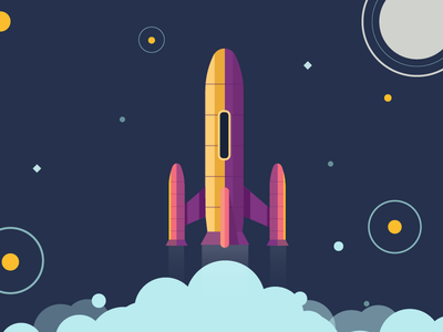 Everyone on dribbble draws rockets, so I did too. intergalactic take off illustration space rocket