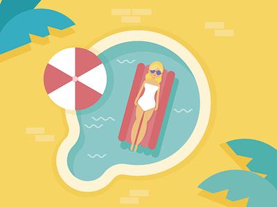 Summer girl illustration backyard christmas australia float relax summer pool