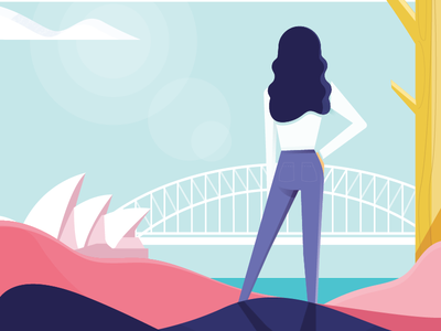 Sydney drawing process illustration bridge opera house harbour girl city sydney