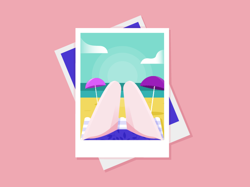 Hotdogs or legs? hot dogs landscape beach tan vacation holiday polaroid illustration