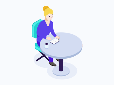 Dovetail writing girl isometric researcher research illustration dovetail