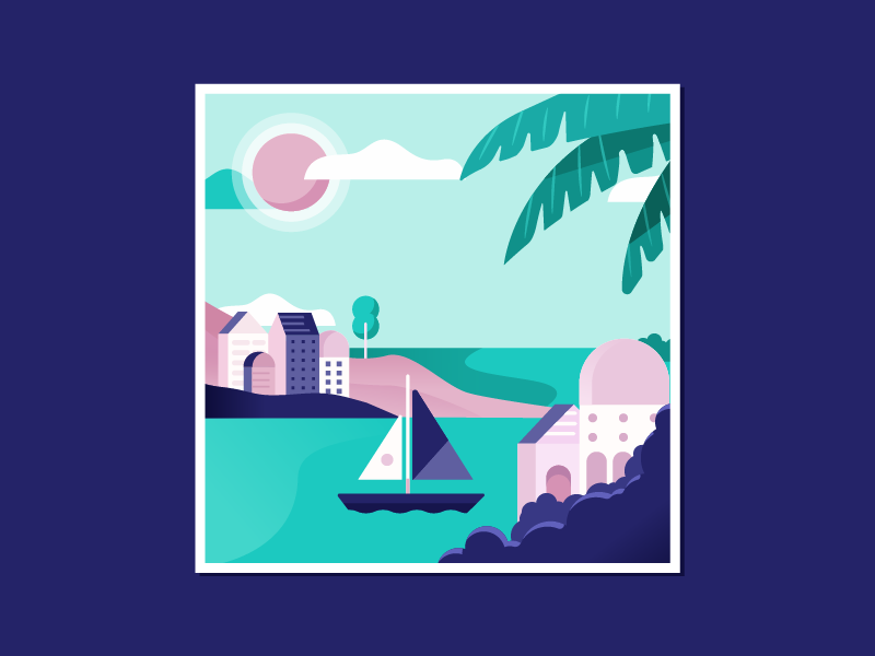 Honeymooning tropical yacht beach illustration landscape mexico cabo