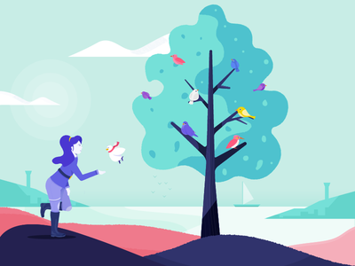 Choose Wisely - Dovetail landscape tree birds dove researcher research illustration dovetail