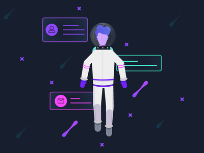 Spaceship Super - Onboarding astronaut profile illustration onboarding signup spacesuit spaceship super
