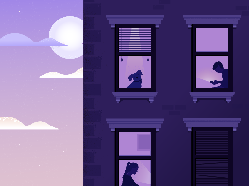 Windows ipad pro drawing dogs illustration people silhouettes architecture building windows apartment