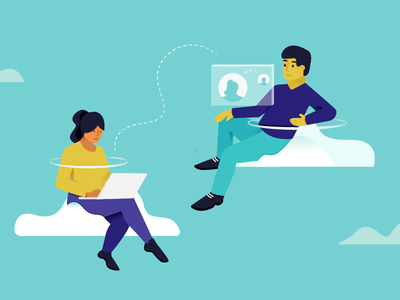 Working Remotely collaboration people chat cloud illustration help scout culture remote