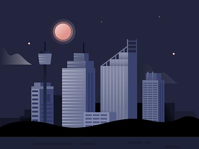 Sydney by night flat landscape design australia building sydney architecture illustration
