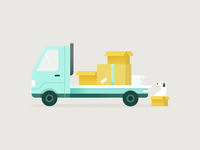 Moving day car truck packing illustration dog moving