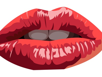 Vector pursed lips in graphic style attrective sexy hot realistic realism thirtylogos glossy glance facial lipstick tooth teeth close open pursed vector throat mouth lip lips