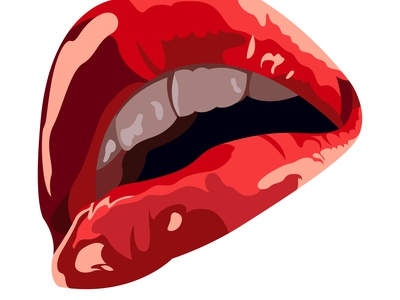 Vector open lips in graphic style a the body of party woman female women girl colorful red side profile icon logo vector throat mouth lip lips