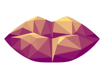 Vector low poly lips in graphic style pursed illustration illustrator creative symbol emblem paper icon logo facial face colorful minimalism polygonal poly low throat mouth lip lips