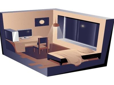 Vector room in graphic style isometry composition vector livingroom pillow monitor wall wood chandelier carpet blanket chair light window pc computer bedroom bed house room