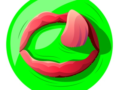 Vector lips in poison in graphic style digital art illustration vector lick smoothie die water sink open tongue pink red green fluid liquid throat mouth lip lips