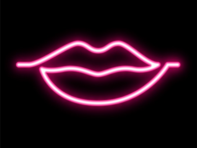 Vector neon lips in graphic style club female kiss attractive vector lady girl line bright light tube violet pink hot neon sexy throat mouth lip lips